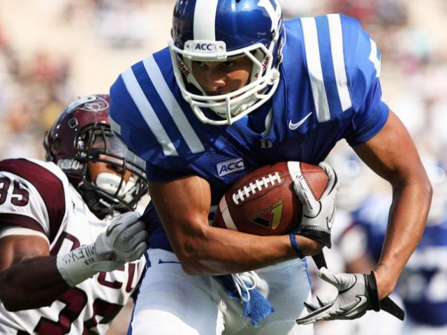 Duke's Brandon Braxton during the Blue Devils' 45-0 victory over neighbor NC Central on Saturday, August 31, 2013 in Durham, NC (Photo by Jack Morton).