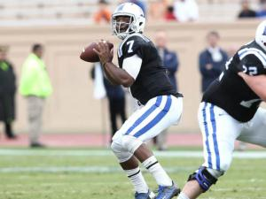 Duke quarterback Anthony Boone threw for 295 yards and three touchdowns in his return to the lineup as the Blue Devils beat Navy at Wallace Wade Stadium Saturday, 35-7.