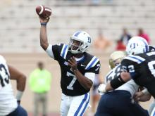 The Duke Blue Devils (4-2, 0-2 ACC) dominated Navy Saturday at Wallace Wade Stadium, forcing three turnovers, out-gaining the Midshipmen 420-319 and winning the game, 35-7.