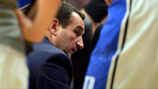 Duke Blue Devils Head Coach Mike Krzyzewski instructs his team during a time out against the Kansas Jayhawks during the State Farm Champions Classic at the United Center on November 12, 2013 in Chicago, Illinois. (Photo by: Lance King)