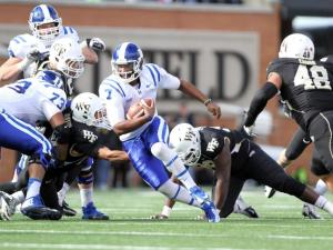 Duke's Anthony Boone during the Blue Devils' game versus Wake Forest on November 23, 2013 in Winston-Salem, NC.  Duke defeated Wake Forest 28-21 (Photo by Jack Morton).