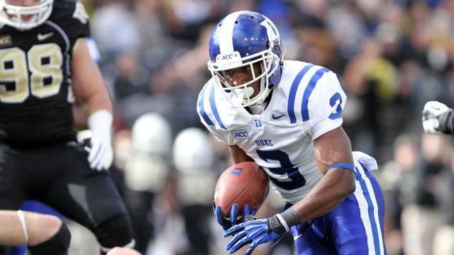 Duke's Jamison Crowder during the Blue Devils' game versus Wake Forest on November 23, 2013 in Winston-Salem, NC.  Duke defeated Wake Forest 28-21 (Photo by Jack Morton).
