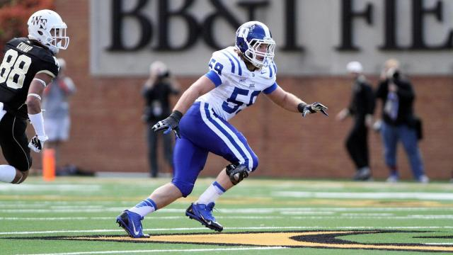 Duke's Kelby Brown during the Blue Devils' game versus Wake Forest on November 23, 2013 in Winston-Salem, NC.  Duke defeated Wake Forest 28-21 (Photo by Jack Morton).