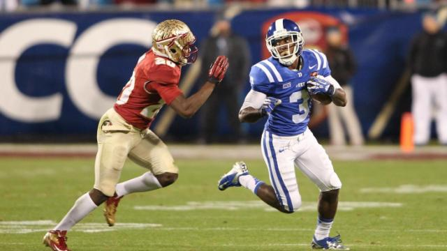 Duke Blue Devils wide receiver Jamison Crowder (3) finds some running room. Florida State and Duke University face each other in the ACC Football Championship on December 7, 2013 at Bank of America Stadium. Duke could not keep pace with Florida State's offense falling by a score of 45 to 7. Photo by CHRIS BAIRD