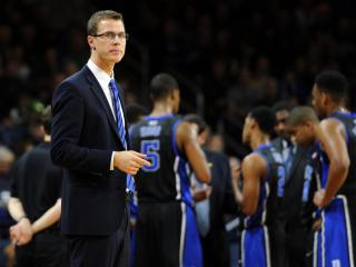 Special Assistant Jon Scheyer of the Duke Blue Devils looks on against the Notre Dame Fighting Irish at Purcell Pavilion at the Joyce Center on January 4, 2014 in South Bend, Indiana. Notre Dame defeated Duke 79-77 in their first-ever Atlantic Coast Conference game. (Lance King/WRAL contributor)