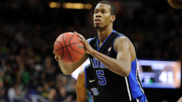Duke Blue Devils forward Rodney Hood (5) concentrates at the free throw line against the Notre Dame Fighting Irish at Purcell Pavilion at the Joyce Center on January 4, 2014 in South Bend, Indiana. Notre Dame defeated Duke 79-77 in their first-ever Atlantic Coast Conference game. (Lance King/WRAL contributor)