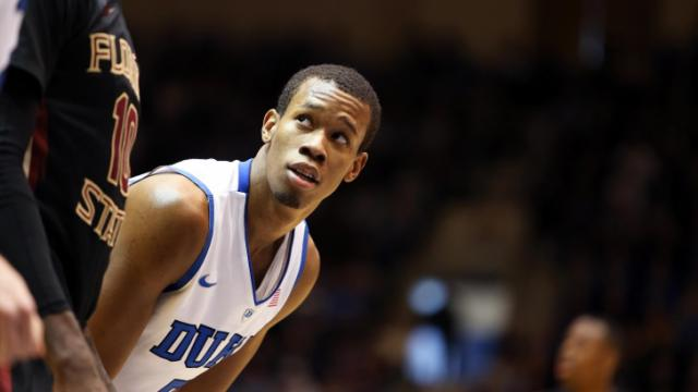 Duke's Rodney Hood during the Blue Devils' game versus Florida State on Saturday, January 25, 2014 in Durham, NC.  Duke beat the Seminoles 78-56.  (Photo by Jack Morton)
