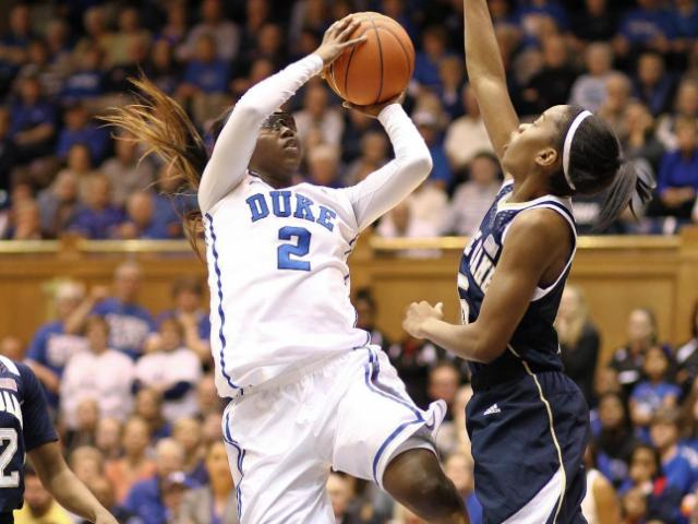 Alexis Jones (2) charges the line with the jumper. Duke hosts Notre Dame in a battle of #2 vs #3. The Fighting Irish showed their strength and kept Duke in the hole all game winning by a score of 88 to 67. (Chris Baird / WRAL Contributor).