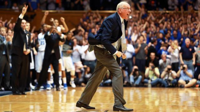 Syracuse coach Jim Boeheim erupts during the Duke Blue Devils' game versus Syracuse on Saturday, February 22, 2014 in Durham, NC.  Duke defeated the Orange 66-60.  (Photo by Jack Morton)