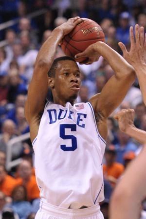 Rodney Hood (5) takes a shot during ACC tournament action at the Greensboro Coliseum between the Duke Blue Devils and the Clemson Tigers on March 14, 2014 in Greensboro, NC. (Will Bratton/WRAL contributor)