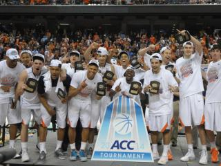 The Virginia Cavaliers following the finals of the 2014 Men's ACC Basketball Tournament at the Greensboro Coliseum between the Duke Blue Devils and the Virginia Cavaliers on March 16, 2014 in Greensboro, NC. (Will Bratton/WRAL contributor)