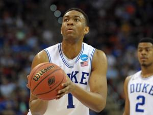 Duke forward Jabari Parker (1) concentrates at the free throw line against the Mercer Bears during the second round of the 2014 NCAA Men's Basketball Tournament at PNC Arena on March 21, 2014 in Raleigh, NC. (Lance King/WRAL contributor)