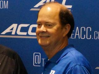 Duke head coach David Cutcliffe at the ACC Kickoff in Greensboro Monday, July 21, 2014.