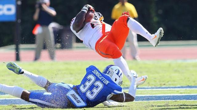 Deondre Singleton (33) of the Duke Blue Devils makes a shoe string tackle. University of Virginia visits Duke University on Saturday October 18, 2014 in Durham N.C. The top two Coastal Division rivals match up only to have the Blue Devils edge out the victory by a score of 20 to 13. (Chris Baird / WRAL Contributor).
