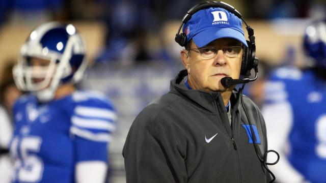 Duke coach David Cutcliffe prior to the Devils' game versus Wake Forest on Saturday, November 29, 2014 in Durham, NC.  (Photo by Jack Morton)