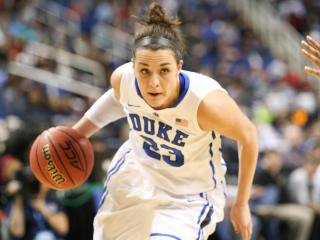 Duke Blue Devils guard Rebecca Greenwell (23) drives in. Wake Forest University takes on Duke University at the ACC Tournament in Greensboro N.C. on March 6, 2015. At half Duke lead by a score of 36-21. (Chris Baird / WRAL Contributor).