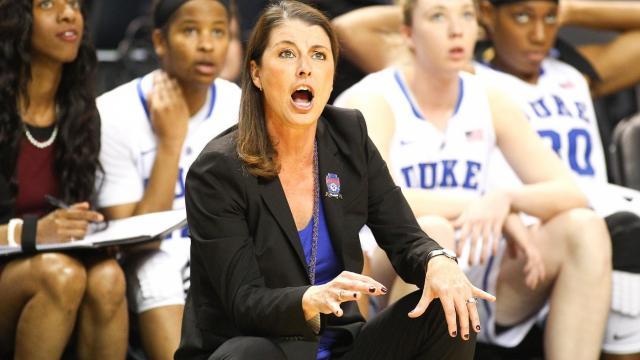 3f714be221c7 Duke Blue Devils head coach Joanne P. McCallie. Wake Forest University  takes on Duke
