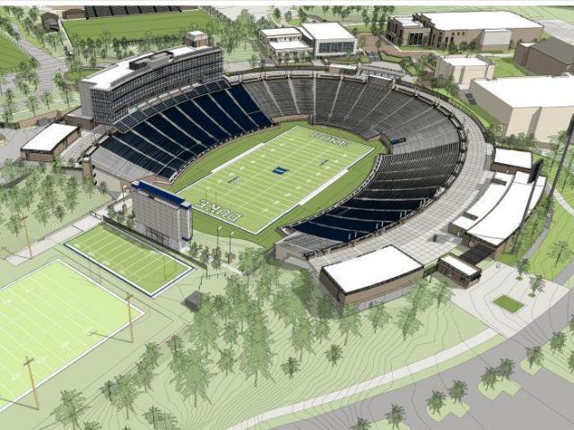 A rendering of the completed $100 million renovation project at Wallace Wade Satadium. (Image courtesy Duke University)