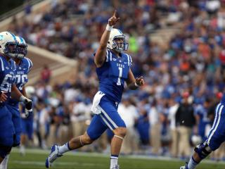 Duke quarterback Thomas Sirk during the Blue Devils' game versus NC Central on Saturday, September 12, 2015 in Durham, NC.  Duke defeated NCCU 55-0.  (Photo by Jack Morton)