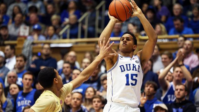 Duke's Frank Jackson during the Blue Devils' game versus Georgia Tech on Wednesday, January 4, 2017 at Cameron Indoor Stadium in Durham, NC.  (Photo by Jack Morton)