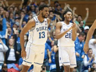 Matt Jones (13) of the Duke Blue Devils. After a slow start Duke put the hammer down in the second half sending Miami back home with a road loss. Duke won by a score of 70 to 58 victory. (Chris Baird / WRAL Contributor).