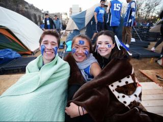 Duke students prior to the Blue Devils' game versus North Carolina on Thursday, February 9, 2017 at Cameron Indoor Stadium in Durham, NC.  (Photo by Jack Morton)