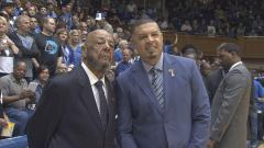 Emotional Day: Father joins son on Duke bench