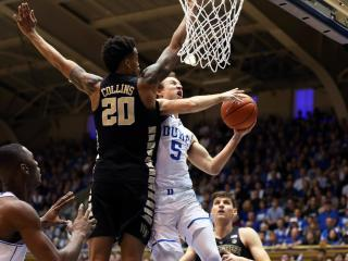 Duke's Luke Kennard during the Blue Devils' game versus Wake Forest on Saturday, February 18, 2017 at Cameron Indoor Stadium in Durham, NC.  Duke won 99-94.  (Photo by Jack Morton)