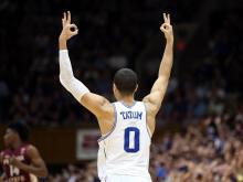 Duke University freshman Jayson Tatum, who averaged 16.8 points and 7.3 rebounds for the Blue Devils in 2016-17, will enter the NBA Draft.