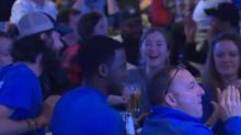 Duke fans celebrate a Blue Devil victory