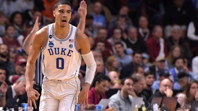 Jayson Tatum (0) of the Duke Blue Devils reacts following a basket against the South Carolina Gamecocks during the second round of the 2017 NCAA Men's Basketball Tournament at Bon Secours Wellness Arena on March 19, 2017 in Greenville, South Carolina. (Lance King/WRAL contributor)
