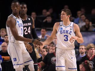 Harry Giles (1) and Grayson Allen (3) of the Duke Blue Devils react during their game against the South Carolina Gamecocks during the second round of the 2017 NCAA Men's Basketball Tournament at Bon Secours Wellness Arena on March 19, 2017 in Greenville, South Carolina. (Lance King/WRAL contributor)