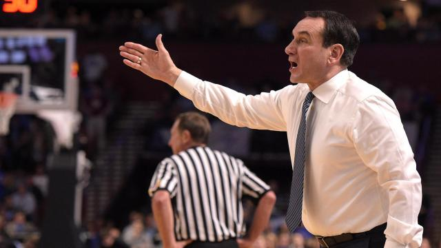 Head coach Mike Krzyzewski of the Duke Blue Devils directs his team against the South Carolina Gamecocks during the second round of the 2017 NCAA Men's Basketball Tournament at Bon Secours Wellness Arena on March 19, 2017 in Greenville, South Carolina. (Lance King/WRAL contributor)