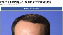 Prank site's post on Coach K retirement gains traction