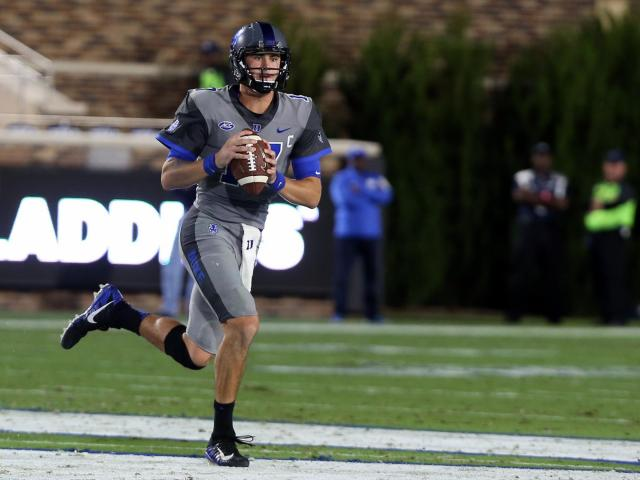 Duke's Daniel Jones during the Blue Devils' game versus Miami on Friday, September 29, 2017 at Brooks Field at Wallace Wade Stadium in Durham, NC.  Miami won 31-6.  (Photo by Jack Morton)