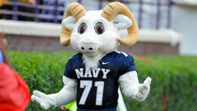 FILE: Navy Midshipmen mascot visits the ECU side for some posing during todays game.Navy defeats East Carolina 56-28 at Dowdy-Ficklen Stadium in Greenville North Carolina. (Photos By Anthony Barham)