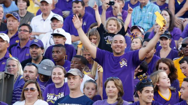 East Carolina Pirate fans celebrate their win in the season opener 52-38 over Old Dominion. (Photos By Anthony Barham)