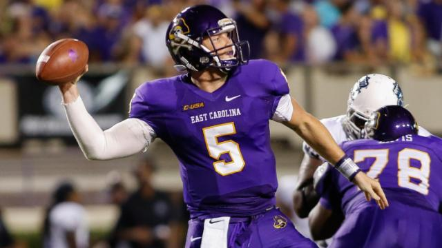 East Carolina Pirates quarterback Shane Carden #5 drops back to pass during todays game.East Carolina defeats Old Dominion 52-38 on Saturday, August 31, 2013 in Greenville, NC (Photos By Anthony Barham)