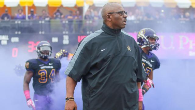 East Carolina Pirates Head Coach Ruffin McNeill during todays game. East Carolina defeats Southern Miss 55-14 on Saturday, October 19, 2013 in Greenville, NC (Photos By Anthony Barham)