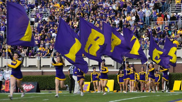 East Carolina Pirate cheerleaders celebrate during todays game. East Carolina defeats UAB Blazers 63-14 on Saturday, November 16, 2013 in Greenville, NC (Photos By Anthony Barham)