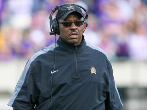 East Carolina Pirates head coach Ruffin McNeill during todays game. East Carolina defeats UAB Blazers 63-14 on Saturday, November 16, 2013 in Greenville, NC (Photos By Anthony Barham)