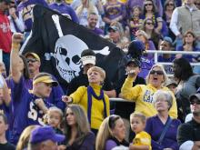 East Carolina Pirate fans celebrate during todays game. East Carolina defeats UAB Blazers 63-14 on Saturday, November 16, 2013 in Greenville, NC (Photos By Anthony Barham)