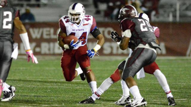 North Carolina Central put up little resistance Thursday night as the South Carolina State Bulldogs dominated in a 44-3 win at O'Kelly-Riddick Stadium in Durham.