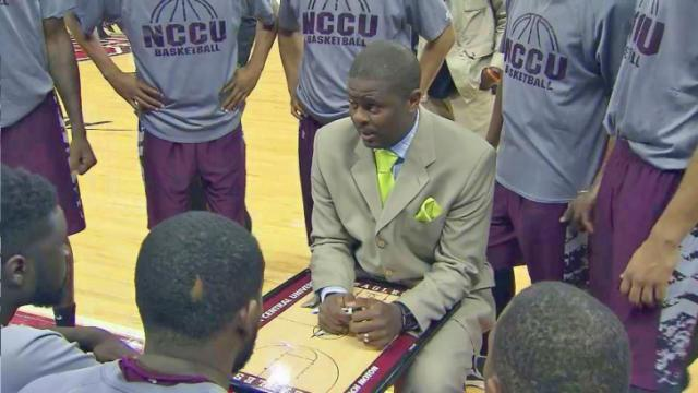 NC Central head coach LeVelle Moton sits down with his team during their game against NC State at the PNC Arena, Wednesday, Nov. 20, 2013.