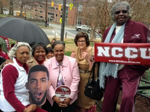 Fans of the Eagles cheered the team's departure Wednesday for the NCAA Tournament.