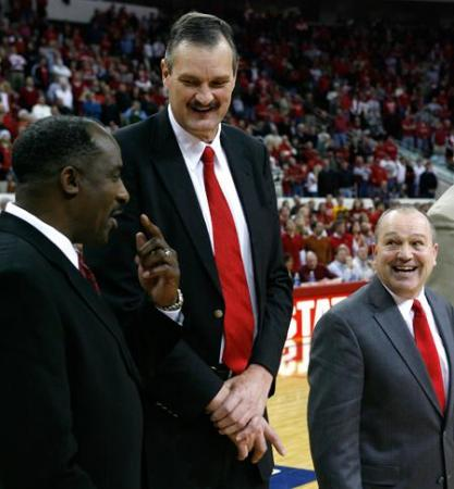 N.C. State legends David Thompson, Tommy Burleson and Monte Towe share a laugh as the 1974 Wolfpack team is honored on December 22, 2008.