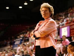 N.C. State interim head coach Stephanie Glance glares at a referee after calling a charging call against the Wolfpack on January 29, 2009.