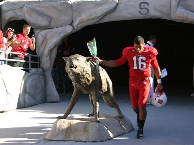 Senior Captain Russell Wilson takes the field before the Wake Forest vs. N.C. State game on Saturday, November 13, 2010.<br/>Photographer: Jerome Carpenter
