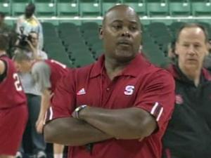 NCSU head coach Sidney Lowe during practice prior to the ACC Tournament in Greensboro.