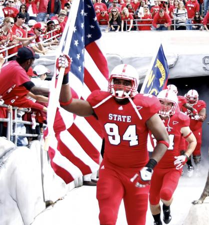 NC State takes the field before the Georgia Tech vs. NC State game on October 1, 2011 in Raleigh, North Carolina.
